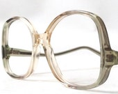 vintage 1970's NOS eyeglasses oversized round clear moss olive green peach plastic frame women eyewear retro eye glasses mid century neutral