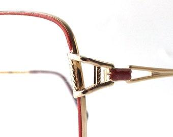 vintage 1980's NOS bella italia square gold metal frame eyeglasses ruby red glitter oversized eye glasses modern women accessories deadstock