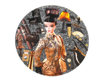 Bellgirl Barbie Vinyl Record Art Upcycled Hand-Painted Decoupage Mixed Media Altered Doll Assemblage Wall Hanging Gold Brown Amber Tan Decor