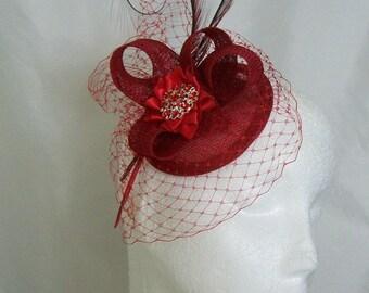 Poppy Red Blusher Veil Pheasant Curl Feather Sinamay & Rhinestone Pearl Isadora Wedding Fascinator Mini Hat - Custom Made to Order
