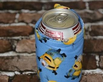 Minion Can/Bottle Cozy/Home Decor/ Housewarming Gift/ Kitchen Decor/ Hostess Gift/ Wedding Gift/ Gift for her/ Fun gift/ Boyfriend gift