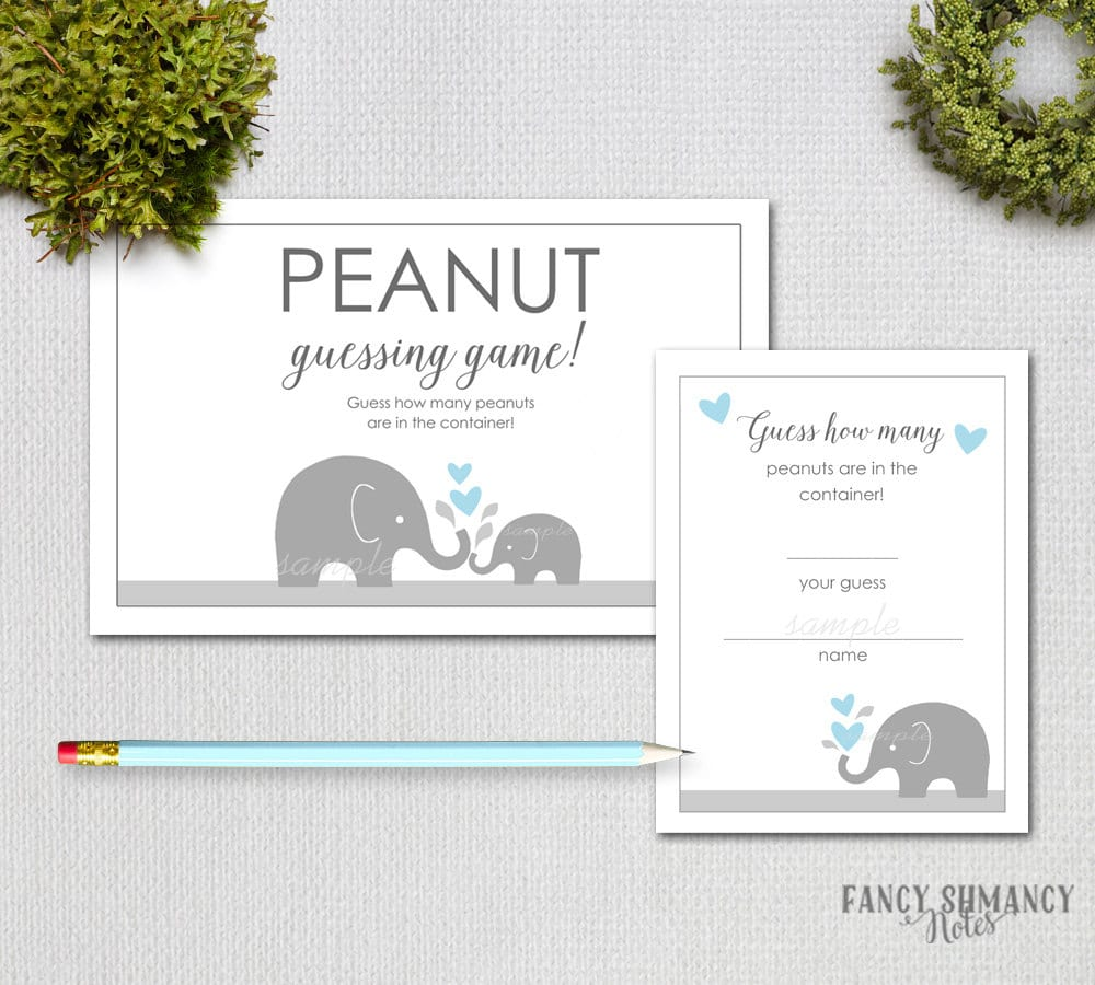 baby shower guessing guess how many peanuts blue