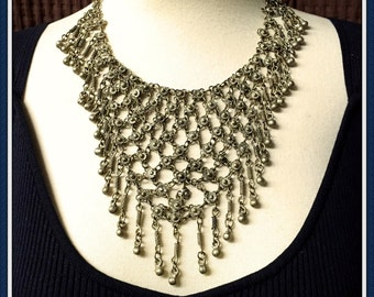 India Silver Alloy Bib Necklace, Handcrafted, Antiquated, Dangling, Weight 4 oz., Vintage 1960's