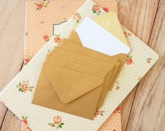 Gold Pearlescent Mini Envelopes & White Note Cards 10pc set