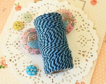 Black & Sky Blue Two Tone Cotton Bakers Twine 20m