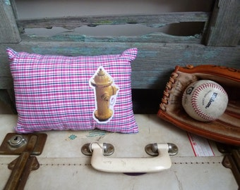Americana Yellow Street Water Hydrant Transfer on Pink, Black & White Plaid Fabric, OOAK Small Cushion, Throw Pillow, Child's Cushion