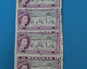 4 1950s Bahamas Paradise Beach 8d Postage Revenue Stamps - Used