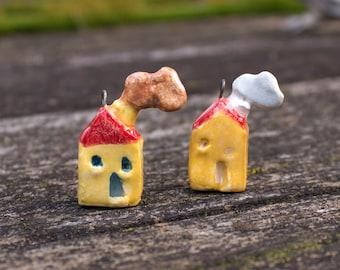Ceramic Miniature House, honey yellow miniature clay tiny house fairy house, pottery house, miniatures, Stoneware Pendant Miniature Necklace