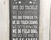 In this home We Do Football Vintage Style Custom Family Rules Typography Word Art Sign Football sign