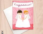 Bride & Bride Confetti Wedding Party Congrats - Lesbian Wedding - Same Sex Wedding Congratulations Greeting Card