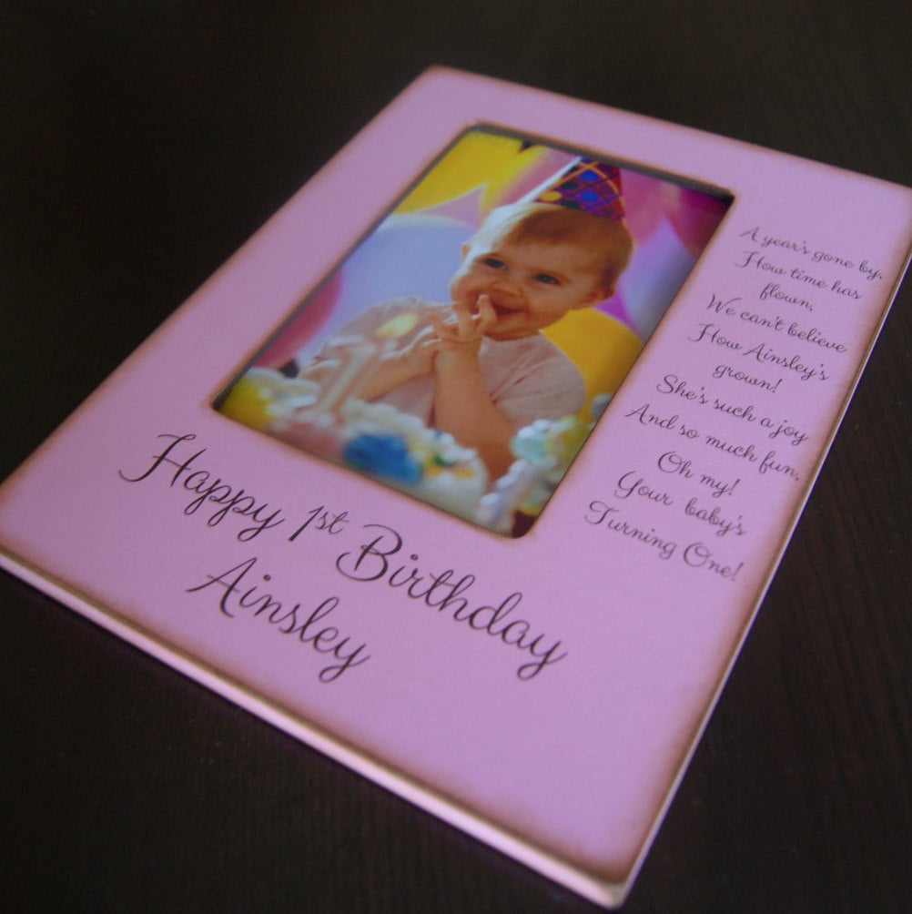 Keepsake 1st Birthday Gifts: Personalized First Birthday 4x6 Photo Frame- Personalized