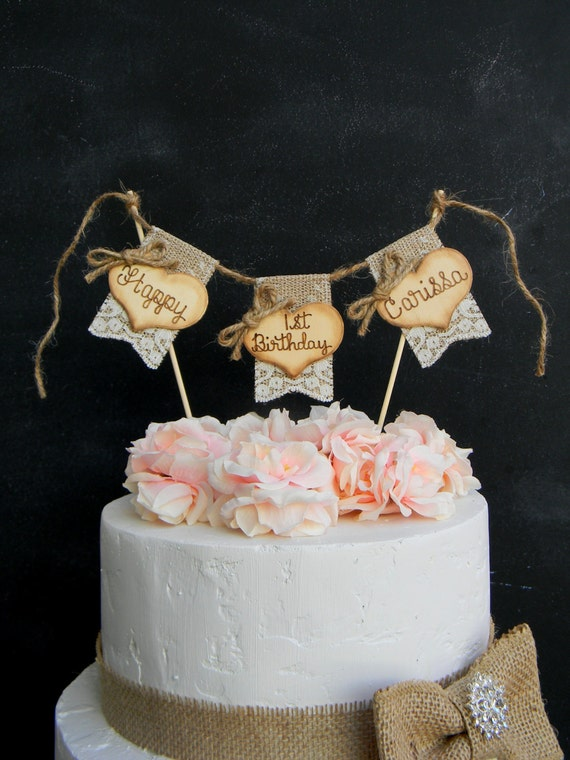 Happy Birthday Cake Topper Burlap & Lace Bunting Flags Banner