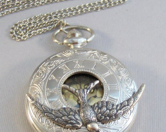 Sparrows,Watch,Pocket Watch,Bird Necklace,Bird,Sparrow Necklace,Silver Necklace,Watch Necklace,Watch,Time,Steampunk,Steampunk Jewelry,
