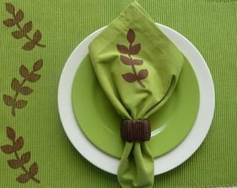 Green and Brown Leaf Cloth Napkins - Set of 4