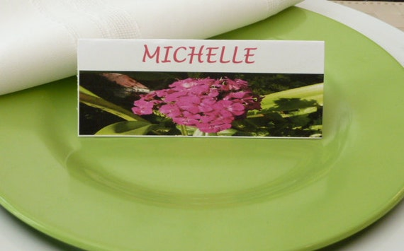 Place Cards/Place Cards/Food Tents- Large Pink Flower- Set of 6-Wedding, Shower Table Decor