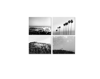California Print Set - Los Angeles Photography - Hollywood Sign Palm Trees - Black and White Prints