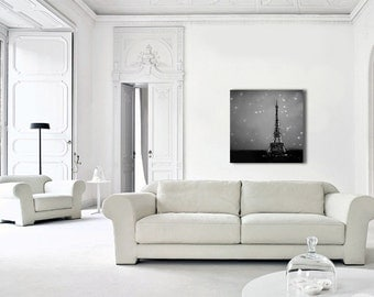 Eiffel Tower Paris Canvas Art, Black White Canvas, Starry Night in Paris, Travel, Canvas Wall Art