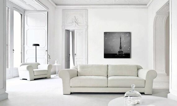 Eiffel Tower, Paris Canvas Art, Black White Canvas, Starry Night in Paris, Travel, Canvas Wall Art