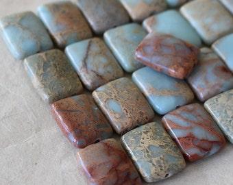 16x12mm African Opal Rectangle Beads - Jewelry Making Supply - Gemstone Rectangle Beads - - Aqua Terra - Choose Amount