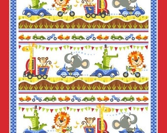 "Safari Drive Fabric Panel by Tim Beaumont for Studio e- 36 x 44"" Cotton Fabric Panel"
