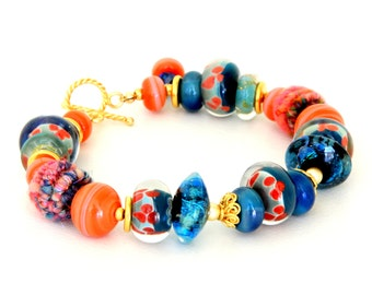 Cobalt Coral Artisan Bead Bracelet. Colorful Glass Bead Bracelet. Boho Jewelry.