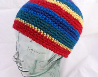 Crocheted Beanie in Red, Yellow Green and Blue