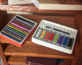 Miniature Pen and Watercolor Set, Dollhouse Miniatures, 1:12 Scale, Dollhouse Accessory, Art Supplies, Coloring, Dollhouse Decor