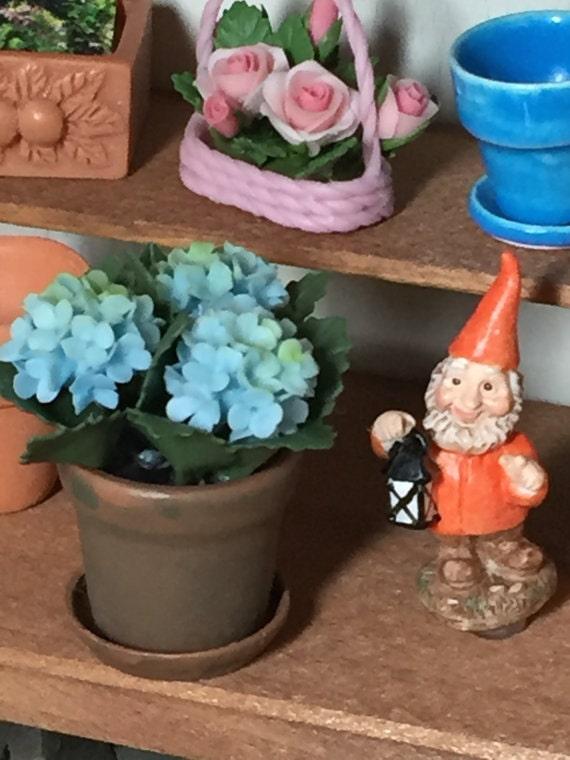 Miniature Garden Gnome With Lantern, Dollhouse Miniature, 1:12 Scale, Dollhouse Garden Decor, Miniature Gardening, Terrarium, Topper, Crafts