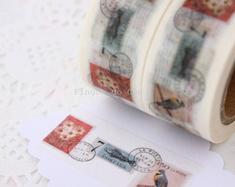 Vintage Stamp Washi Tape - Scrapbooking - Gift Wrapping - Packaging Supplies - 1 Roll - 10 mt - Ready to Ship