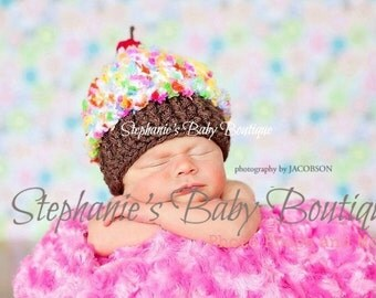Crochet Baby Girl Cupcake Beanie, Newborn, 0-3 Months, 3-6 Months, Multi Color, Cherry, Hat, Photo Prop, Shower Gift, Rainbow Baby