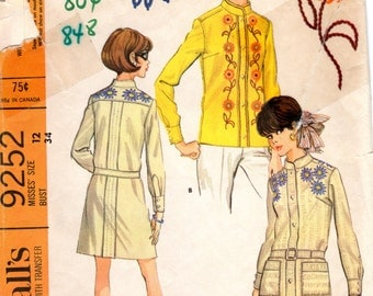 1960s Shirtdress with Nehru Collar - Vintage Pattern McCall's 9252 - B 34