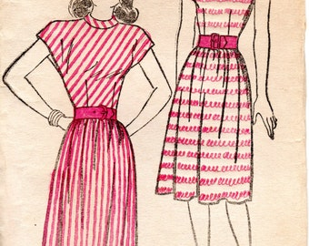 1940s Day Dress Pattern - Vintage New York 158 - Bust 30 Gathered Skirt Square Neckline