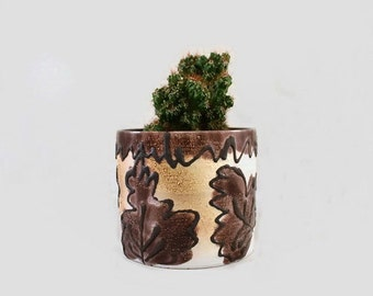 Vintage Planter Pot Marei West Germany Brown Cream Leaf Pattern