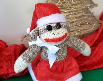 Mrs Santa Claus Sock Monkey, Christmas Monkey,  Stocking Stuffer, Grab Bag Gift, Co-worker, Christmas