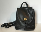 90's Coach Backpack Purse / Leather Handbag / Black Leather Bag
