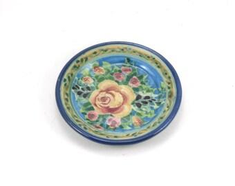 Ceramic Butter Pat, Coaster, Tea Bag Rest - Blue Porcelain Floral Rose Design - One of a Kind Handmade Pottery