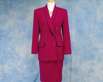 Vintage 80s Designer Oleg Cassini Wool Skirt Suit, Dark Fuschia, Sz 8 Med Medium