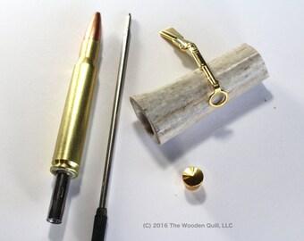 Made in USA Craft Supplies Pen Kit - Rifle Cartridge Pen - 30.06 Brass - Deer Antler Blank