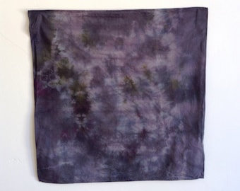 Hand Dyed Plum and Gray Handkerchief Scarf