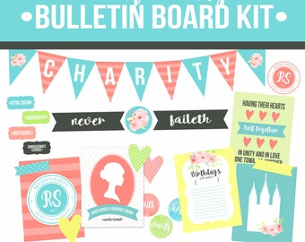 LDS Relief Society Bulletin Board Kit-Relief Society Printables-Instant Download-LDS-DIY Relief Society Posters