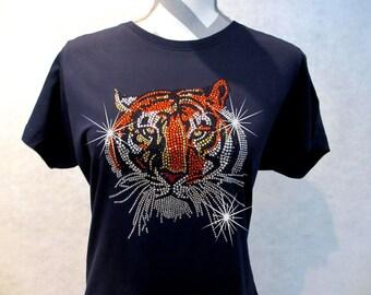 Rhinestone T-Shirt // Tiger // LAT Ringspun Cotton // Ladies // Short Sleeve // Sparkling Tee // Bling // Rhinestone Shirt // Premium Tee //