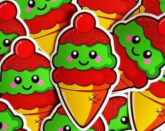 Ice Cream Sticker 10cm, vinyl laptop sticker, cute ice cream, kawaii food sticker, cute stationery, fun laptop sticker, die cut sticker