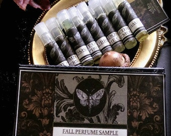 Fall Perfume  Alchemy Sample Vial Collection set of 8 Natural Perfume Oils.