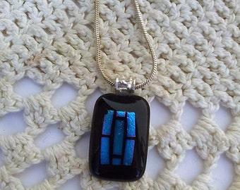 Fusing Glass Pendant Black Blue Decroic