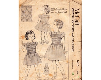 50s Toddler Girls RARE Smocked Baby Dress Pattern McCall 1615 Size 2 Breast 21 inches