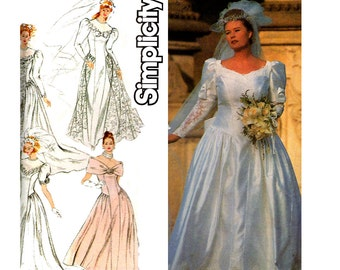 90s plus size wedding dress pattern simplicity 8009 princess seams full skirt puff sleeves train size