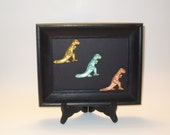 Framed Painted Dinosaur Wall Art, Metallic Pastel Dinosaurs