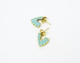 Vintage Spike Earrings / Neon Blue Gold Spikes Posts / Triangle Earrings