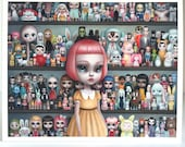 LAST ONE The Dolly Collector  - 8x10 Unframed Limited Edition signed numbered Pop Surrealism Fine Art Print - by Mab Graves