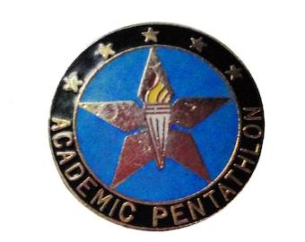 ACADEMIC PENTATHLON vintage enamel pin lapel badge award pinback souvenir school award CA